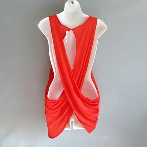 Heart Hips drape back orange red tank top